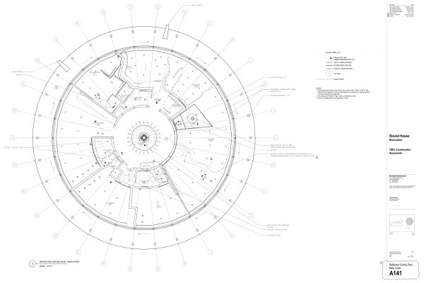 The Round House Renovation - Ceiling Plan Round House Renovation Plans, 2012, courtesy: Mack Scogin Merrill Elam Architects
