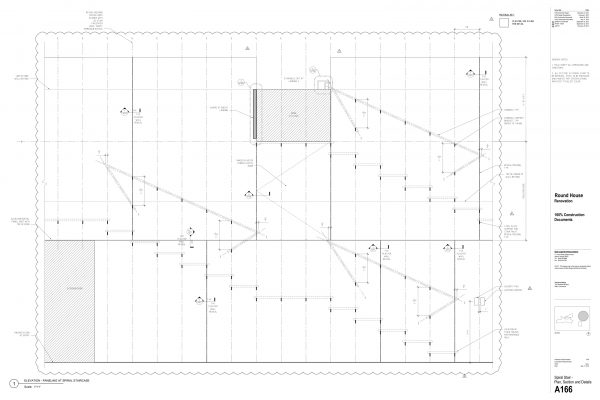 The Round House Renovation - Staircase Paneling Round House Renovation Plans, 2012, courtesy: Mack Scogin Merrill Elam Architects