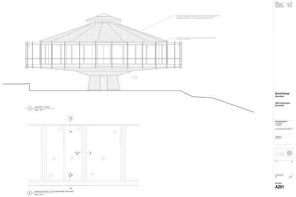The Round House Renovation - Partial Elevation Round House Renovation Plans, 2012, courtesy: Mack Scogin Merrill Elam Architects