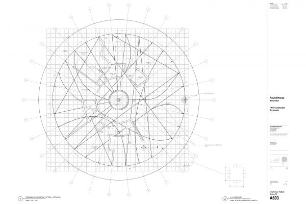 The Round House Renovation - Terrazzo Strip Floor Pattern Round House Renovation Plans, 2012, courtesy: Mack Scogin Merrill Elam Architects