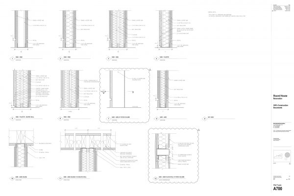 The Round House Renovation - Wall Section Interior Round House Renovation Plans, 2012, courtesy: Mack Scogin Merrill Elam Architects