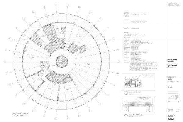 The Round House Renovation - Demo Plan Main Level Round House Renovation Plans, 2012, courtesy: Mack Scogin Merrill Elam Architects