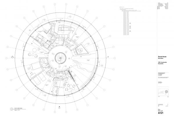 The Round House Renovation - Plan Main Level Round House Renovation Plans, 2012, courtesy: Mack Scogin Merrill Elam Architects