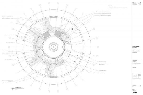 The Round House Renovation - Plan Attic Level Round House Renovation Plans, 2012, courtesy: Mack Scogin Merrill Elam Architects