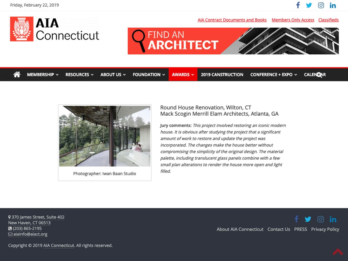 AIA Connecticut Design Awards | The Round House
